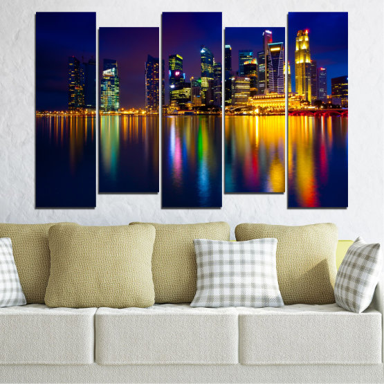 Canvas prints & wall decorative panels - 5 pieces №0353 » Blue, Brown, Black, Dark grey » Water, City, Lights, Night, Аsia, Singapore Form #3