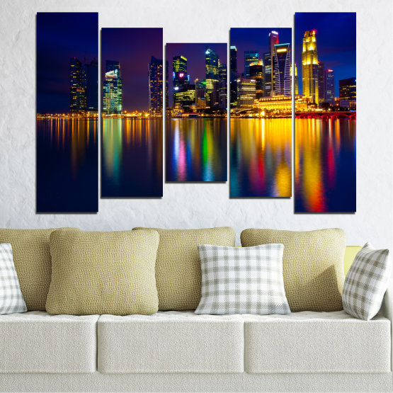 Canvas prints & wall decorative panels - 5 pieces №0353 » Blue, Brown, Black, Dark grey » Water, City, Lights, Night, Аsia, Singapore Form #4