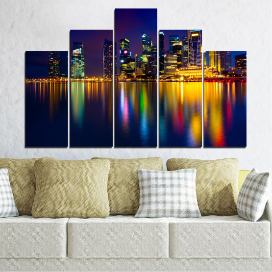 Canvas prints & wall decorative panels - 5 pieces №0353 » Blue, Brown, Black, Dark grey » Water, City, Lights, Night, Аsia, Singapore Form #5