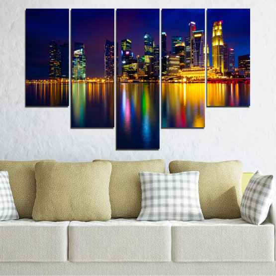 Canvas prints & wall decorative panels - 5 pieces №0353 » Blue, Brown, Black, Dark grey » Water, City, Lights, Night, Аsia, Singapore Form #6