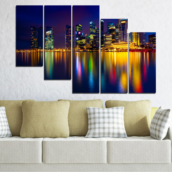 Canvas prints & wall decorative panels - 5 pieces №0353 » Blue, Brown, Black, Dark grey » Water, City, Lights, Night, Аsia, Singapore Form #7