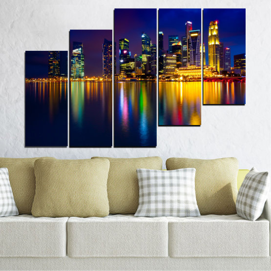 Canvas prints & wall decorative panels - 5 pieces №0353 » Blue, Brown, Black, Dark grey » Water, City, Lights, Night, Аsia, Singapore Form #8