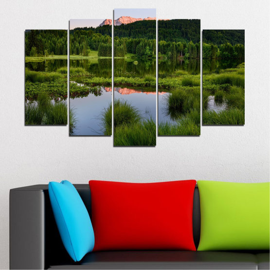 Canvas prints & wall decorative panels - 5 pieces №0354 » Green, Black, Gray » Nature, Landscape, Water, Forest, Mountain Form #1