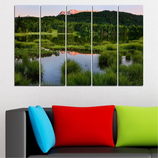 Canvas prints & wall decorative panels - 5 pieces №0354 » Green, Black, Gray » Nature, Landscape, Water, Forest, Mountain Form #2