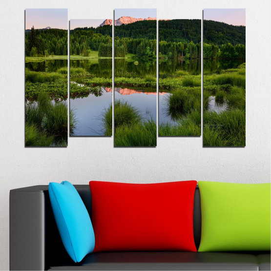Canvas prints & wall decorative panels - 5 pieces №0354 » Green, Black, Gray » Nature, Landscape, Water, Forest, Mountain Form #3