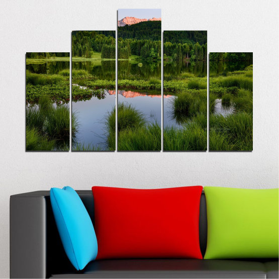 Canvas prints & wall decorative panels - 5 pieces №0354 » Green, Black, Gray » Nature, Landscape, Water, Forest, Mountain Form #5