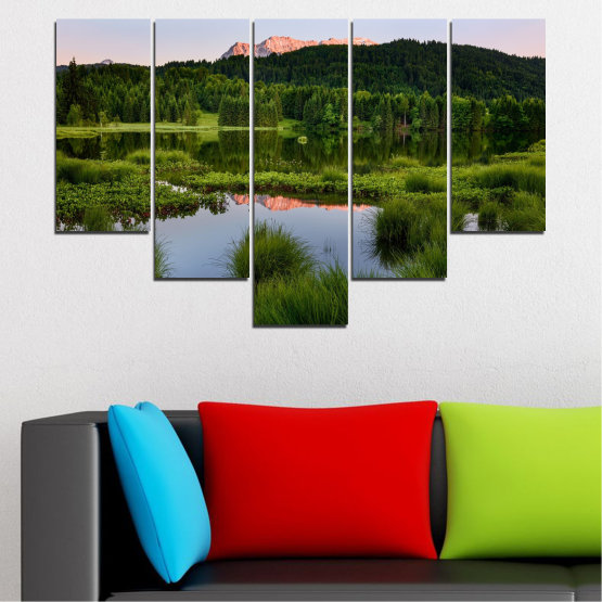 Canvas prints & wall decorative panels - 5 pieces №0354 » Green, Black, Gray » Nature, Landscape, Water, Forest, Mountain Form #6