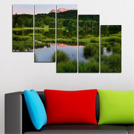 Canvas prints & wall decorative panels - 5 pieces №0354 » Green, Black, Gray » Nature, Landscape, Water, Forest, Mountain Form #7