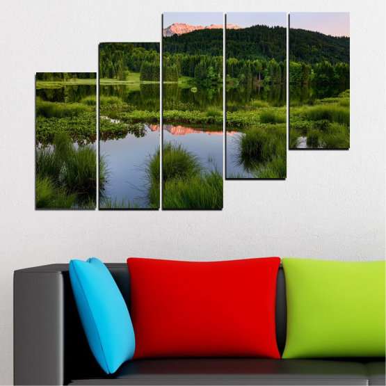 Canvas prints & wall decorative panels - 5 pieces №0354 » Green, Black, Gray » Nature, Landscape, Water, Forest, Mountain Form #8