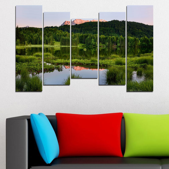 Canvas prints & wall decorative panels - 5 pieces №0354 » Green, Black, Gray » Nature, Landscape, Water, Forest, Mountain Form #4