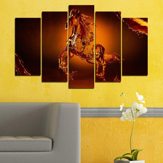 Декоративни панели и картини от канава - от 5 части №0355 » Червен, Оранжев, Кафяв, Черен » Абстракция, Вода, Кон Form #1