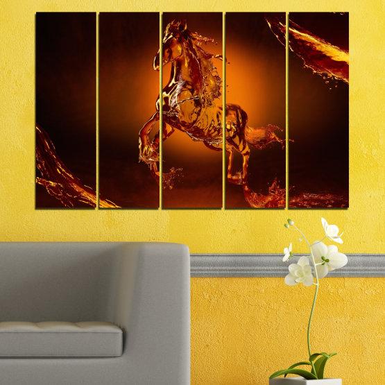 Декоративни панели и картини от канава - от 5 части №0355 » Червен, Оранжев, Кафяв, Черен » Абстракция, Вода, Кон Form #2