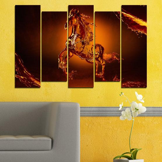 Декоративни панели и картини от канава - от 5 части №0355 » Червен, Оранжев, Кафяв, Черен » Абстракция, Вода, Кон Form #3
