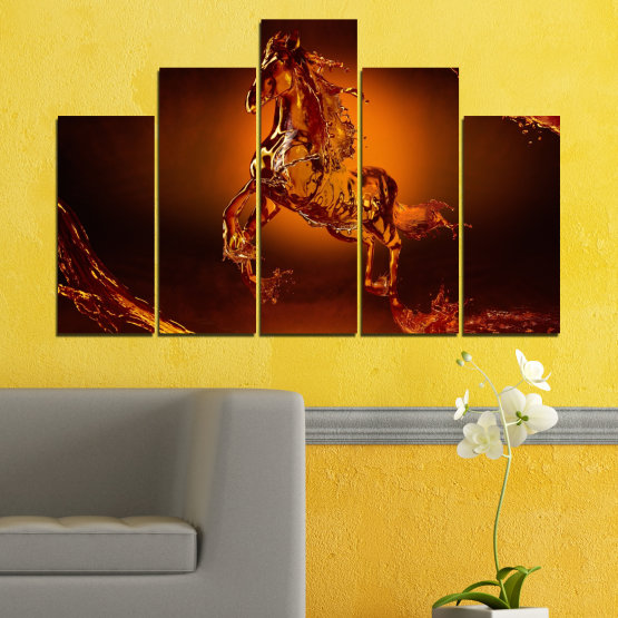Canvas prints & wall decorative panels - 5 pieces №0355 » Red, Orange, Brown, Black » Abstraction, Water, Horse Form #5