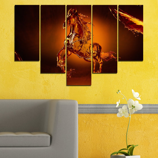 Canvas prints & wall decorative panels - 5 pieces №0355 » Red, Orange, Brown, Black » Abstraction, Water, Horse Form #6