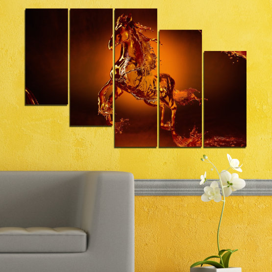 Canvas prints & wall decorative panels - 5 pieces №0355 » Red, Orange, Brown, Black » Abstraction, Water, Horse Form #7