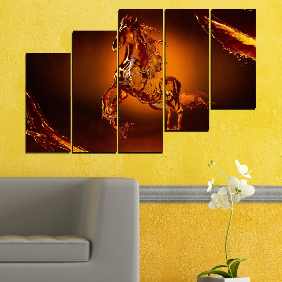 Canvas prints & wall decorative panels - 5 pieces №0355 » Red, Orange, Brown, Black » Abstraction, Water, Horse Form #8