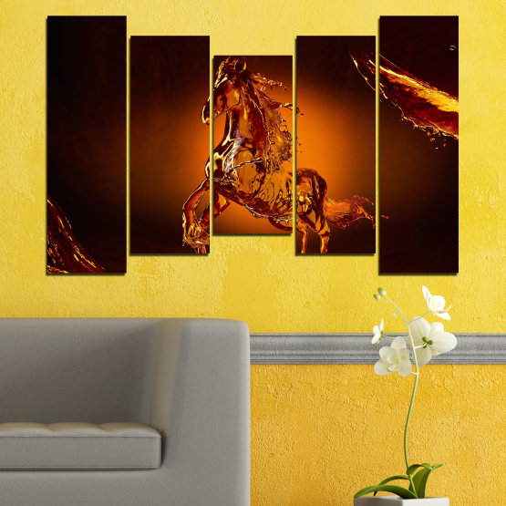 Canvas prints & wall decorative panels - 5 pieces №0355 » Red, Orange, Brown, Black » Abstraction, Water, Horse Form #4