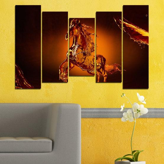 Декоративни панели и картини от канава - от 5 части №0355 » Червен, Оранжев, Кафяв, Черен » Абстракция, Вода, Кон Form #4