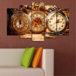 Колаж, Часовник, Джобен часовник » Оранжев, Кафяв, Черен, Бежов