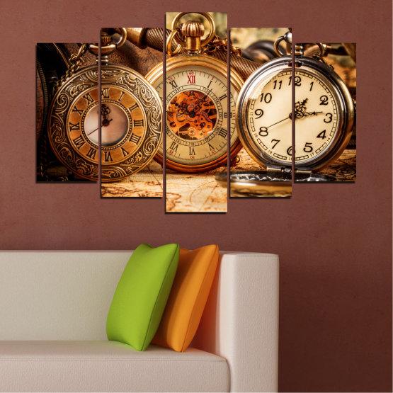 Декоративни панели и картини от канава - от 5 части №0356 » Оранжев, Кафяв, Черен, Бежов » Колаж, Часовник, Джобен часовник Form #1