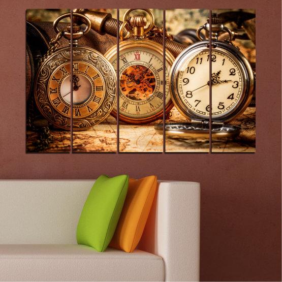 Декоративни панели и картини от канава - от 5 части №0356 » Оранжев, Кафяв, Черен, Бежов » Колаж, Часовник, Джобен часовник Form #2