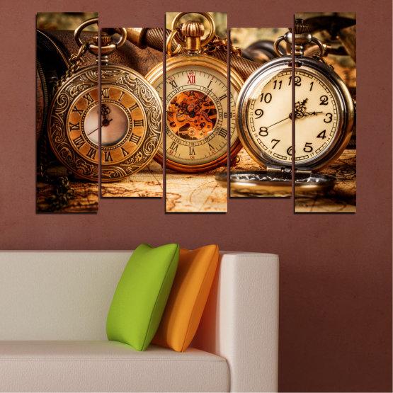 Декоративни панели и картини от канава - от 5 части №0356 » Оранжев, Кафяв, Черен, Бежов » Колаж, Часовник, Джобен часовник Form #3