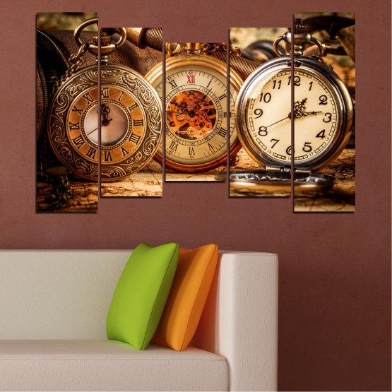 Декоративни панели и картини от канава - от 5 части №0356 » Оранжев, Кафяв, Черен, Бежов » Колаж, Часовник, Джобен часовник Form #4