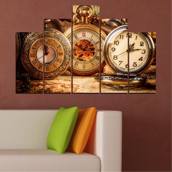 Декоративни панели и картини от канава - от 5 части №0356 » Оранжев, Кафяв, Черен, Бежов » Колаж, Часовник, Джобен часовник Form #5