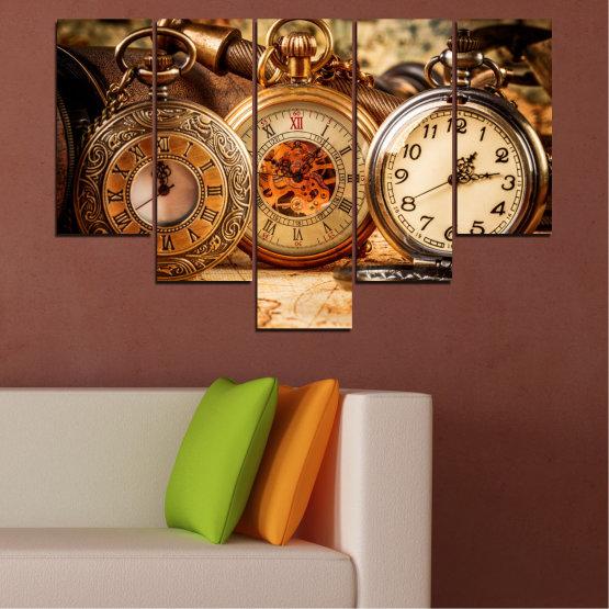 Декоративни панели и картини от канава - от 5 части №0356 » Оранжев, Кафяв, Черен, Бежов » Колаж, Часовник, Джобен часовник Form #6