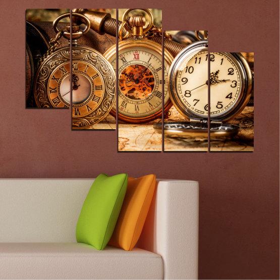 Декоративни панели и картини от канава - от 5 части №0356 » Оранжев, Кафяв, Черен, Бежов » Колаж, Часовник, Джобен часовник Form #7