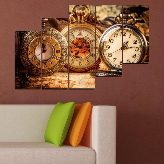 Декоративни панели и картини от канава - от 5 части №0356 » Оранжев, Кафяв, Черен, Бежов » Колаж, Часовник, Джобен часовник Form #8