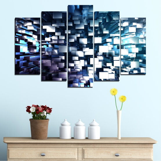 Canvas prints & wall decorative panels - 5 pieces №0357 » Blue, Black, Gray, White, Dark grey » Abstraction, Shine, Rectangle Form #1