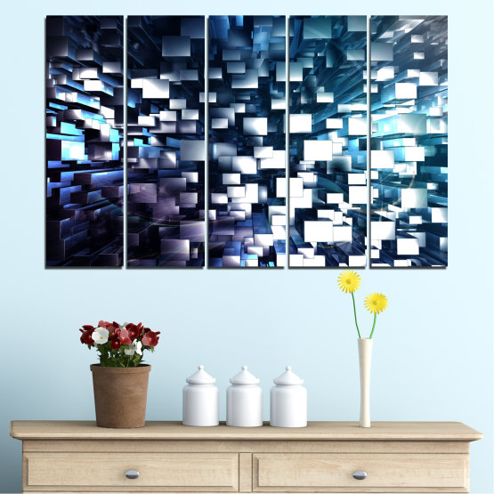 Canvas prints & wall decorative panels - 5 pieces №0357 » Blue, Black, Gray, White, Dark grey » Abstraction, Shine, Rectangle Form #2