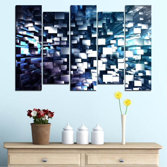 Canvas prints & wall decorative panels - 5 pieces №0357 » Blue, Black, Gray, White, Dark grey » Abstraction, Shine, Rectangle Form #3