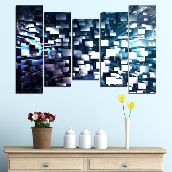 Canvas prints & wall decorative panels - 5 pieces №0357 » Blue, Black, Gray, White, Dark grey » Abstraction, Shine, Rectangle Form #4