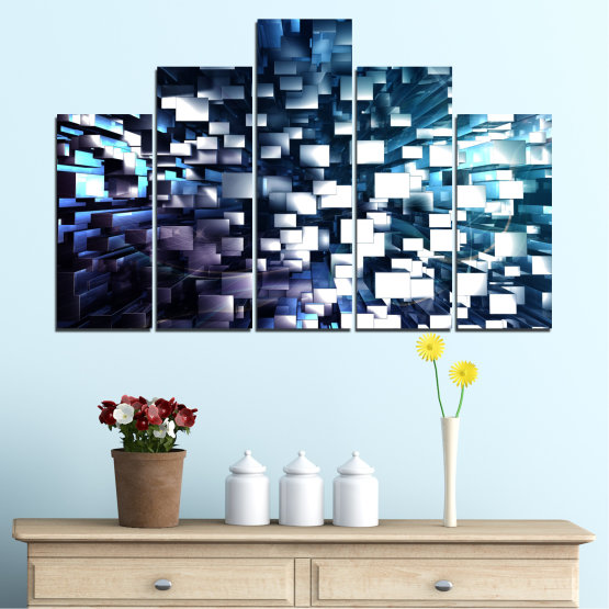 Canvas prints & wall decorative panels - 5 pieces №0357 » Blue, Black, Gray, White, Dark grey » Abstraction, Shine, Rectangle Form #5