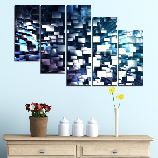 Canvas prints & wall decorative panels - 5 pieces №0357 » Blue, Black, Gray, White, Dark grey » Abstraction, Shine, Rectangle Form #7