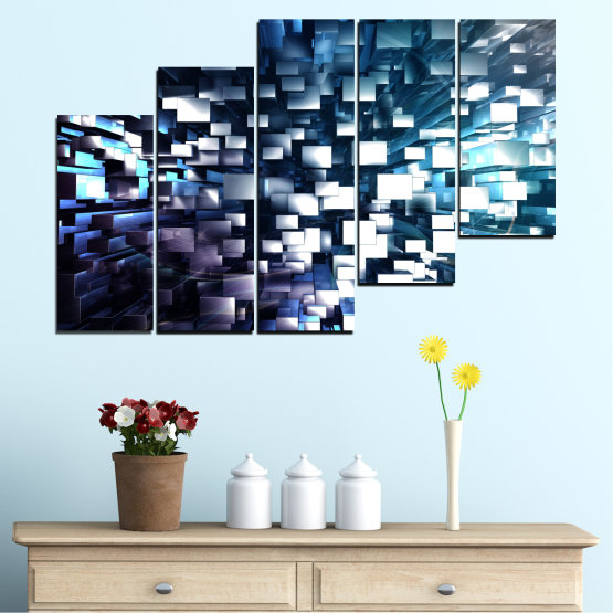 Canvas prints & wall decorative panels - 5 pieces №0357 » Blue, Black, Gray, White, Dark grey » Abstraction, Shine, Rectangle Form #8