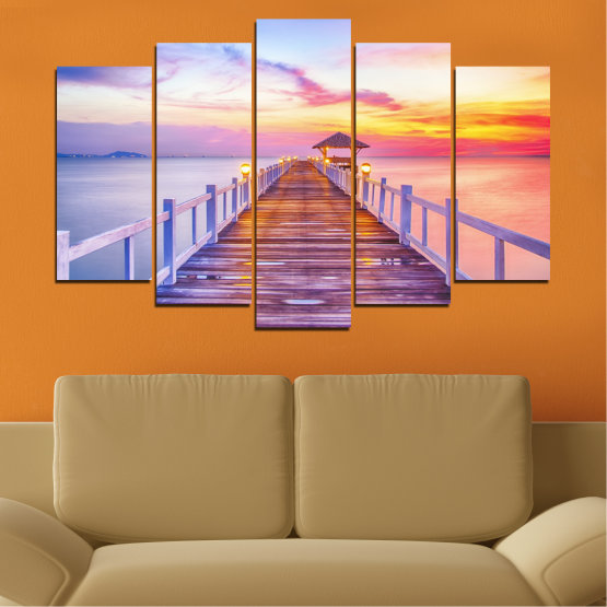 Canvas prints & wall decorative panels - 5 pieces №0358 » Gray, Beige, Milky pink » Sea, Water, Sunset, Bridge Form #1