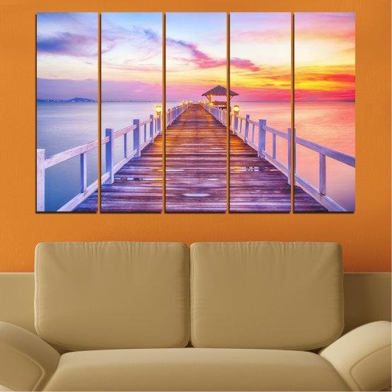 Декоративни панели и картини от канава - от 5 части №0358 » Сив, Бежов, Млечно розов » Море, Залез, Вода, Мост Form #2
