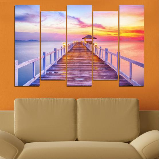 Декоративни панели и картини от канава - от 5 части №0358 » Сив, Бежов, Млечно розов » Море, Залез, Вода, Мост Form #3