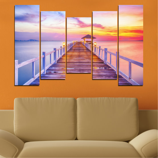 Canvas prints & wall decorative panels - 5 pieces №0358 » Gray, Beige, Milky pink » Sea, Water, Sunset, Bridge Form #4