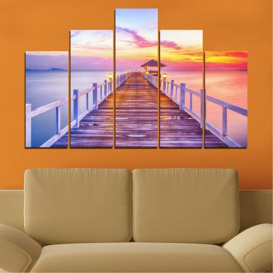 Декоративни панели и картини от канава - от 5 части №0358 » Сив, Бежов, Млечно розов » Море, Залез, Вода, Мост Form #5