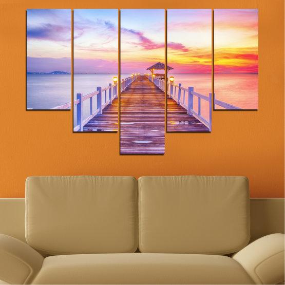 Декоративни панели и картини от канава - от 5 части №0358 » Сив, Бежов, Млечно розов » Море, Вода, Залез, Мост Form #6