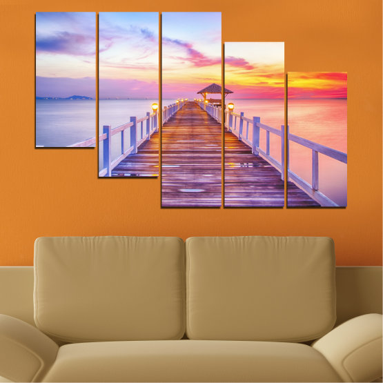 Canvas prints & wall decorative panels - 5 pieces №0358 » Gray, Beige, Milky pink » Sea, Water, Sunset, Bridge Form #7