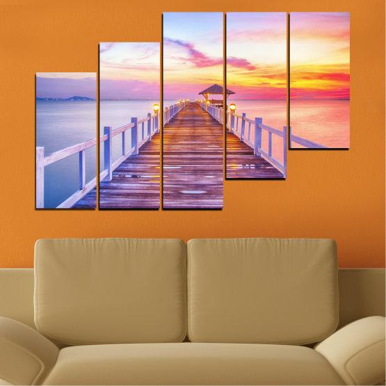 Декоративни панели и картини от канава - от 5 части №0358 » Сив, Бежов, Млечно розов » Море, Вода, Залез, Мост Form #8