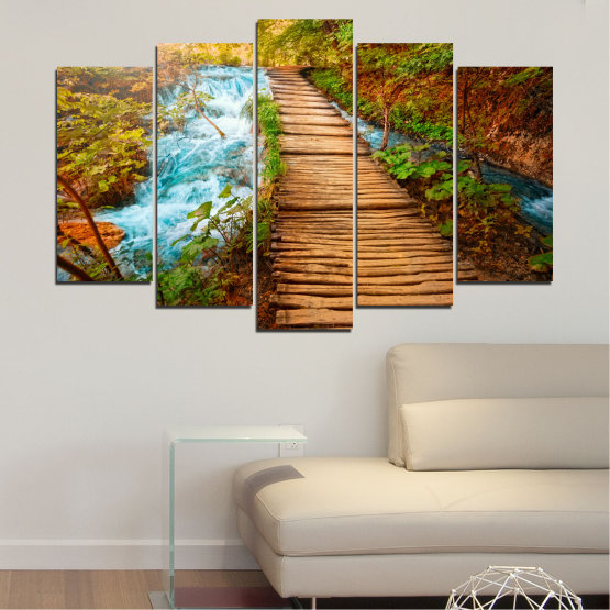 Canvas prints & wall decorative panels - 5 pieces №0359 » Green, Orange, Brown, Black » Nature, Landscape, Water, Forest, Tree, Bridge Form #1