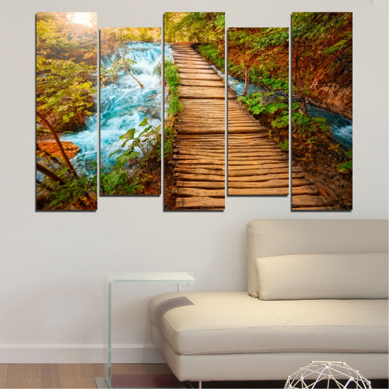 Canvas prints & wall decorative panels - 5 pieces №0359 » Green, Orange, Brown, Black » Nature, Landscape, Water, Forest, Tree, Bridge Form #3