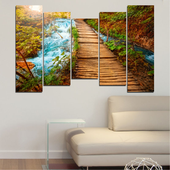 Canvas prints & wall decorative panels - 5 pieces №0359 » Green, Orange, Brown, Black » Nature, Landscape, Water, Forest, Tree, Bridge Form #4